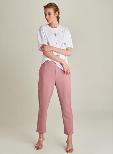 Ng Style Krep Beli Lastikli Pantolon Gül Kurusu